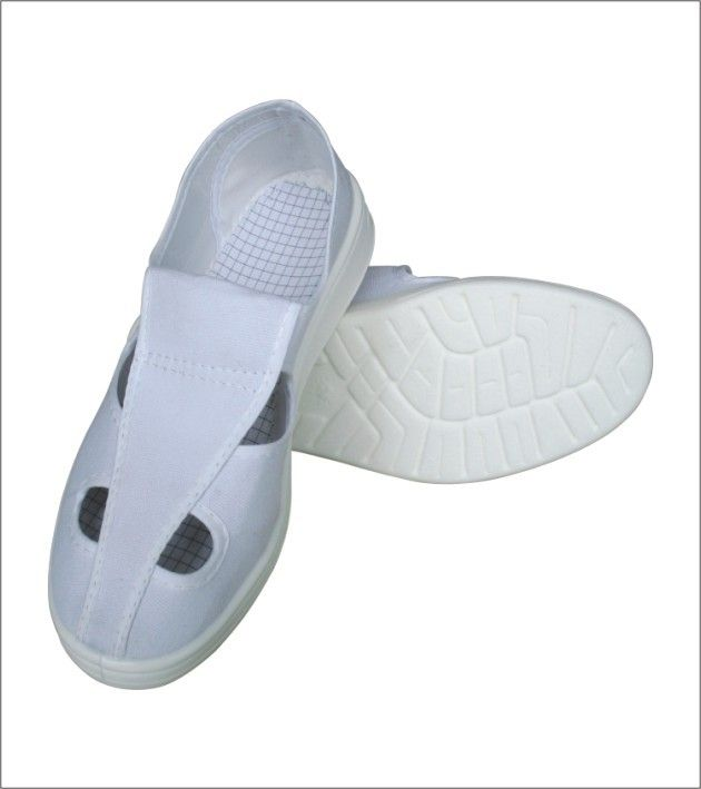 Four Hole White Canvas PU ESD Safety Shoes Anti Static For Semiconductor Factory